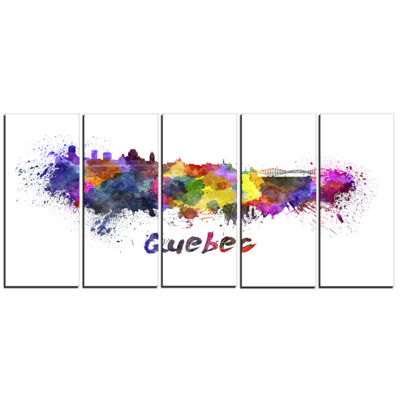 Designart Quebec Skyline Cityscape Canvas ArtworkPrint - 5Panels