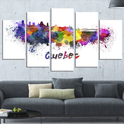 Quebec Skyline Large Cityscape Canvas Artwork Print - 5 Panels