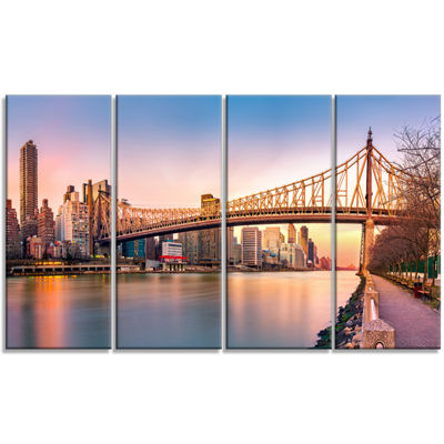 Designart Queenboro Bridge Panorama At Sunset Cityscape Canvas Print - 4 Panels