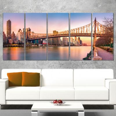 Designart Queenboro Bridge Panorama At Sunset Cityscape Wrapped Canvas Print - 5 Panels