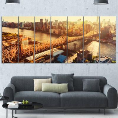 Designart Queensboro Bridge Over East River LargeCityscapeWrapped Canvas Art Print - 5 Panels