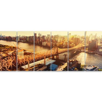 Designart Queensboro Bridge Over East River LargeCityscapeCanvas Art Print 6 Panels