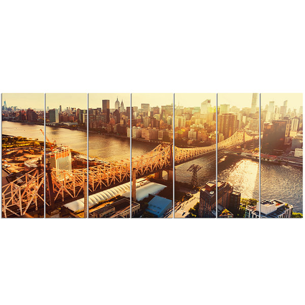 Queensboro Bridge Over East River Large CityscapeCanvas Art Print 7 Panels
