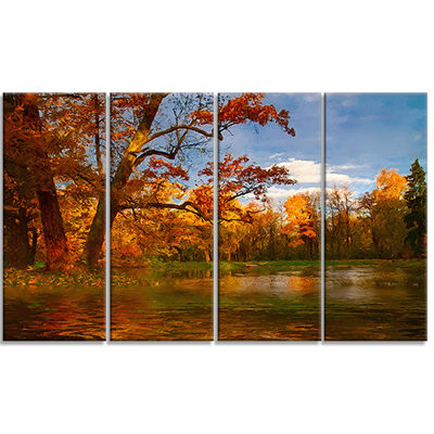 Designart Quiet and Silent Autumn Landscape Art Print Canvas- 4 Panels