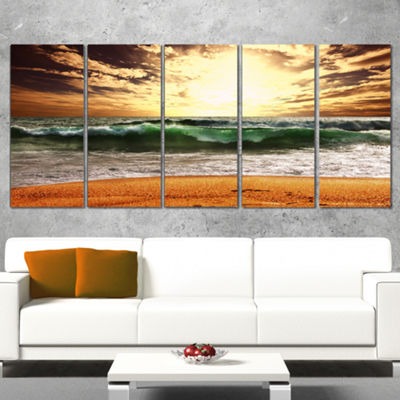 Designart Raging Green Waves At Sunset Large Seashore Wrapped Canvas Print - 5 Panels