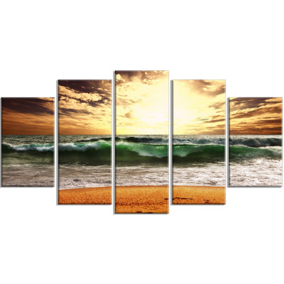 Raging Green Waves At Sunset Large Seashore Wrapped Canvas Print - 5 Panels