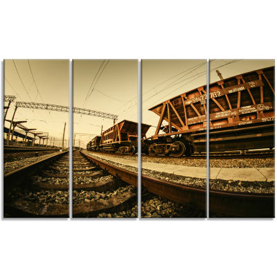 Designart Railway Tracks in Ukraine Landscape Photo Canvas Art Print - 4 Panels