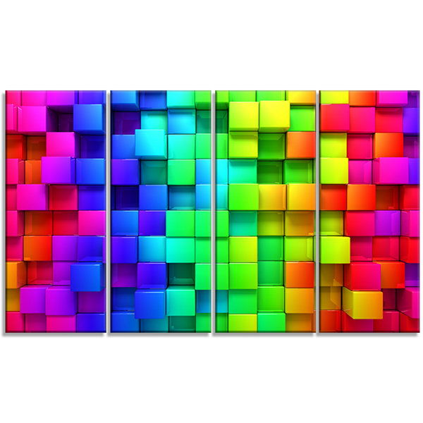 Designart Rainbow of Colorful Boxes Abstract Canvas Artwork- 4 Panels