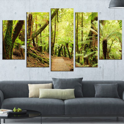 Designart Rainforest Panorama Landscape Photography WrappedCanvas Art Print - 5 Panels