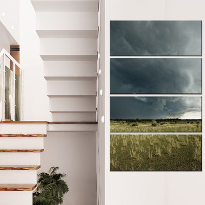 Designart Rainy Cloud Over Green Pasture OversizedLandscapeCanvas Art - 4 Panels