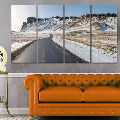 Designart Range Road in Winter Mountains LandscapeCanvas Art Print - 4 Panels