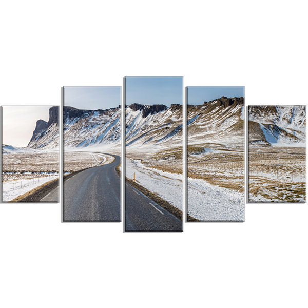 Designart Range Road in Winter Mountains LandscapeWrapped Canvas Art Print - 5 Panels