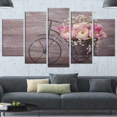 Designart Ranunculus Flowers on Bicycle Floral Canvas Art Print - 4 Panels