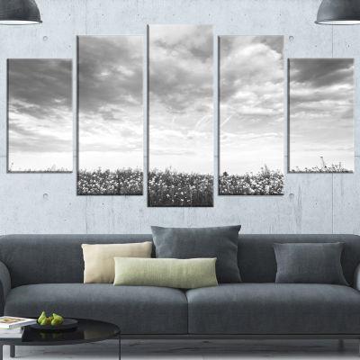 Designart Rapeseed Garden in Black and White LargeLandscapeCanvas Art - 4 Panels