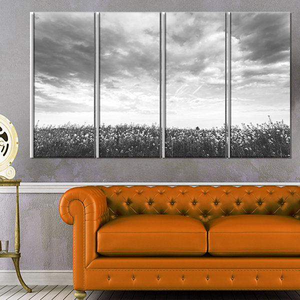 Rapeseed Garden in Black and White Large LandscapeCanvas Art - 4 Panels