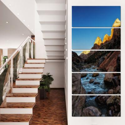 Designart Rapid Virgin River Landscape PhotographyCanvas Art Print - 4 Panels
