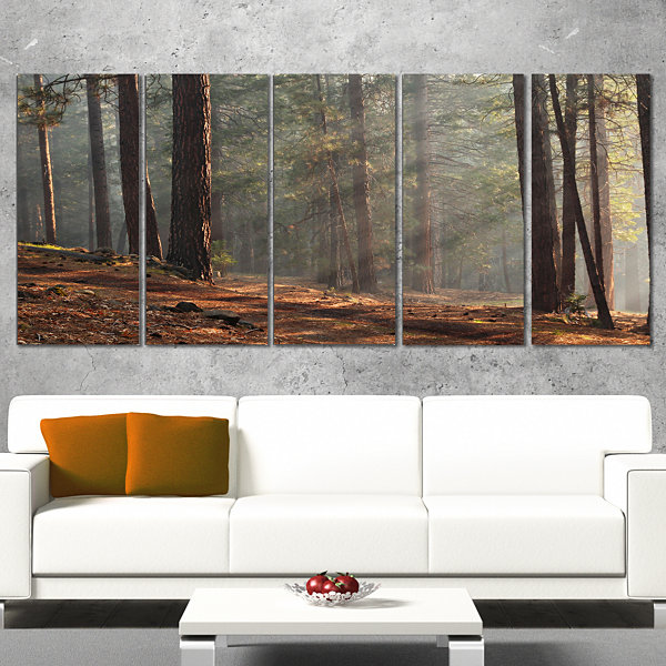 Designart Rays of Sun in Dense Forest Landscape Photo CanvasArt Print - 5 Panels