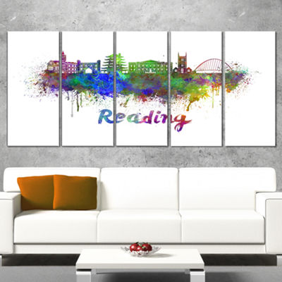 Designart Reading Skyline Cityscape Canvas ArtworkPrint - 5Panels