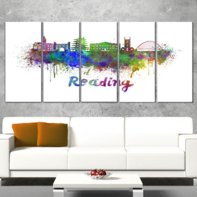 Designart Reading Skyline Large Cityscape Canvas Artwork Print - 5 Panels