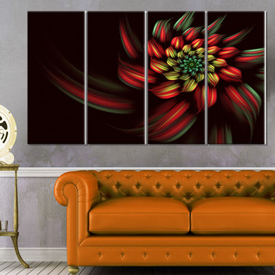 Designart Red Abstract Fractal Flower Spiral Floral Canvas Art Print - 4 Panels