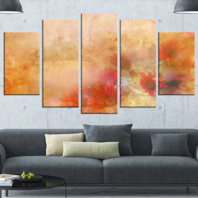 Designart Red and Pink Flowers on Brown Large Floral CanvasArtwork - 4 Panels