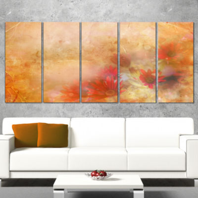 Red and Pink Flowers on Brown Large Floral CanvasArtwork - 5 Panels