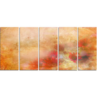 Designart Red and Pink Flowers on Brown Large Floral CanvasArtwork - 5 Panels