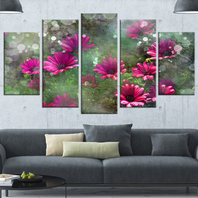 Designart Red and Pink Flowers on Green Large Floral CanvasArtwork - 4 Panels