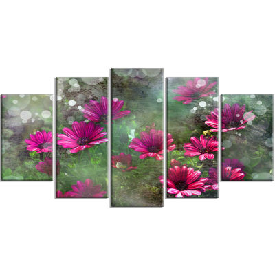 Red and Pink Flowers on Green Large Floral WrappedCanvas Artwork - 5 Panels