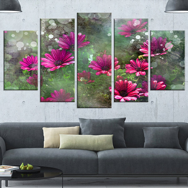 Designart Red and Pink Flowers on Green Large Floral WrappedCanvas Artwork - 5 Panels