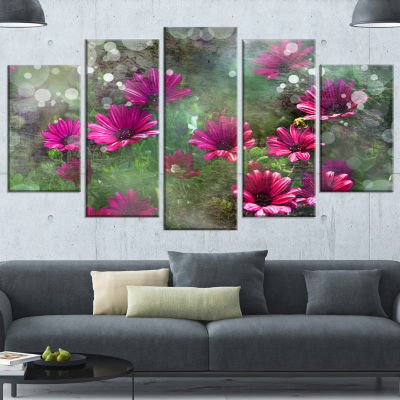 Designart Red and Pink Flowers on Green Large Floral CanvasArtwork - 5 Panels