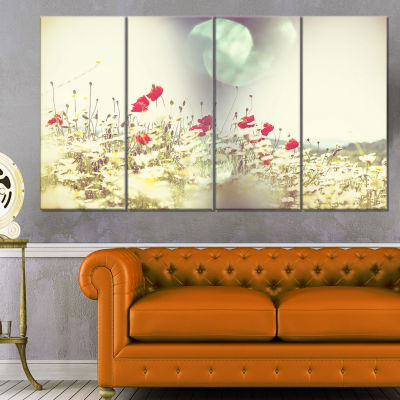 Designart Red and White Poppy Flowers Field LargeFlower Canvas Art Print - 4 Panels