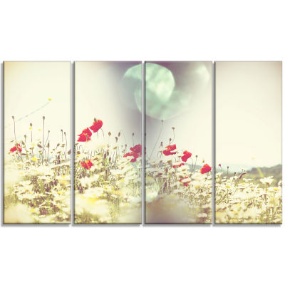 Red and White Poppy Flowers Field Large Flower Canvas Art Print - 4 Panels
