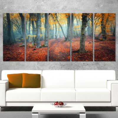 Designart Red and Yellow Autumn Forest Landscape PhotographyCanvas Print - 5 Panels