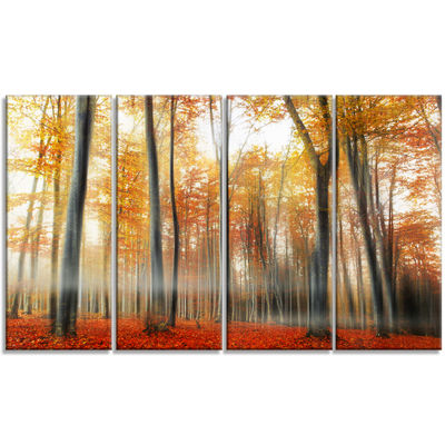 Designart Red and Yellow Leaves in Fall LandscapePhoto Canvas Art Print - 4 Panels