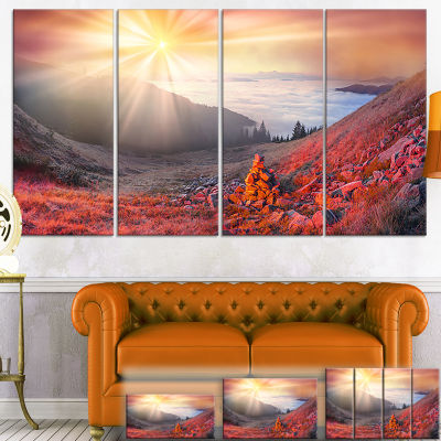 Designart Red Beach Forest in Carpathians Landscape Photography Canvas Print - 4 Panels