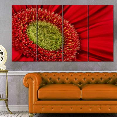 Designart Red Daisy Gerbera Flower Close Up Flowers Canvas Wall Artwork - 4 Panels