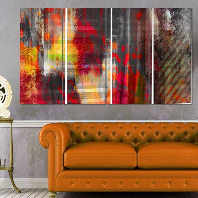 Designart Red Decorative Design Abstract Canvas Art Print -4 Panels