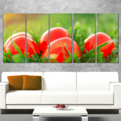 Designart Red Easter Eggs in Green Grass LandscapePhotography Canvas Print - 4 Panels