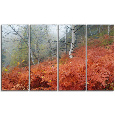 Designart Red Fern in Foggy Fall Fay Landscape Photo CanvasArt Print - 4 Panels
