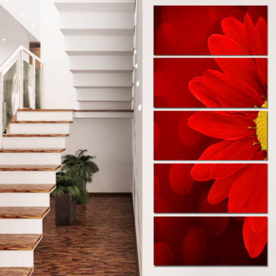 Red Flower With Lit Up Background Large Floral Canvas Artwork - 4 Panels