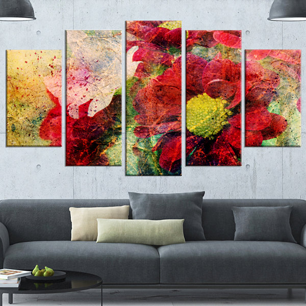 Red Flowers and Watercolor Splashes Flower Artworkon Wrapped Canvas - 5 Panels