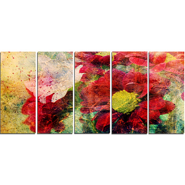 Designart Red Flowers and Watercolor Splashes Flower Artworkon Canvas - 5 Panels