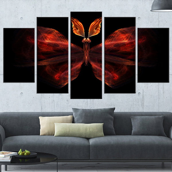 Red Fractal Butterfly in Dark Abstract Canvas ArtPrint - 5 Panels