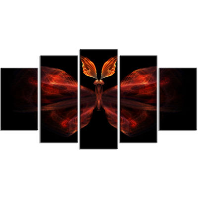 Designart Red Fractal Butterfly in Dark Contemporary CanvasArt Print - 5 Panels