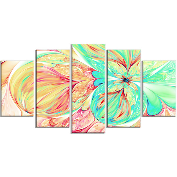 Designart Red Green Paper Flower Floral Art CanvasPrint - 5Panels