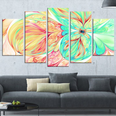 Red Green Paper Flower Large Floral Art Canvas Print - 5 Panels
