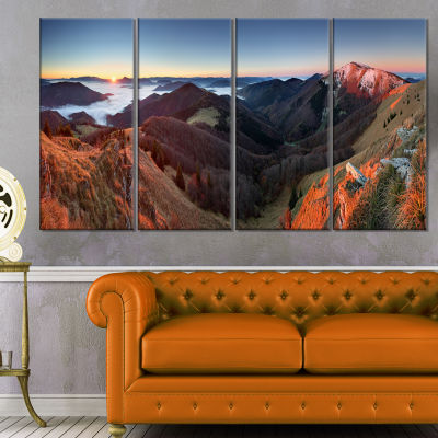 Red Mountain Sunset Panorama Landscape Artwork Canvas - 4 Panels