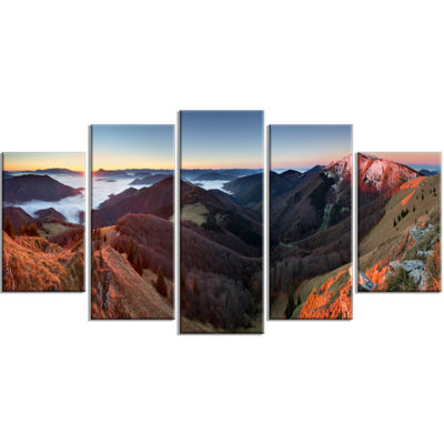 Designart Red Mountain Sunset Panorama Landscape Artwork Wrapped Canvas - 5 Panels