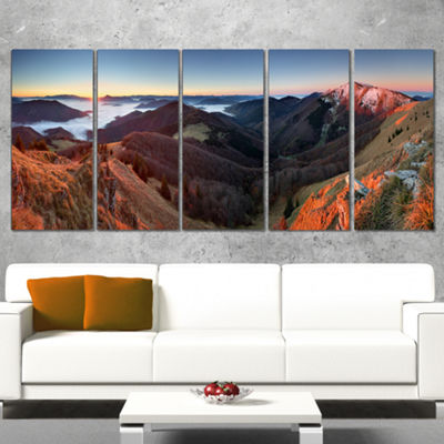 Designart Red Mountain Sunset Panorama Landscape Artwork Canvas - 5 Panels